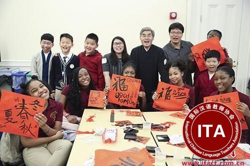 中国侨网资料图:中美两国小学生体验中国传统文化。 中新社记者 廖攀 摄